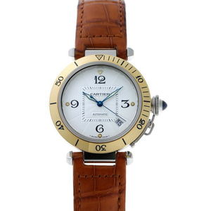 CARTIER Pasha 38 Yellow Gold Steel Automatic Mens Watch