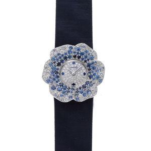 CHANEL Camellia Watch Diamond Sapphire Quartz H1188 Pave Dial 750WG 1910294