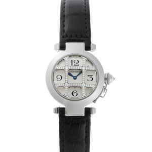 Cartier Pasha 32 Grid Convex Diamond Quartz WJ11932G Silver Dial 750WG 1920155