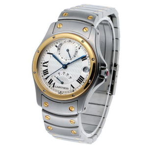CARTIER Santos Rondo GMT Power Reserve Automatic Watch 150th W20038R3 Steel Yellow Gold