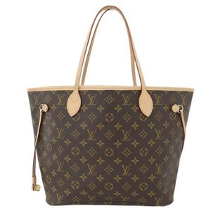 Genuine LOUIS VUITTON Louis Vuitton Monogram Neverfull MM Tote Bag Leather