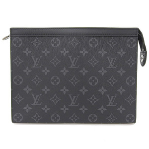 Genuine LOUIS VUITTON Louis Vuitton Eclipse Pochette Voyage MM Clutch Bag M61692 Leather