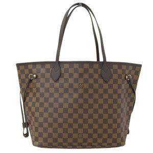Genuine LOUIS VUITTON Louis Vuitton Damier Neverfull MM Tote Bag Ebene Leather