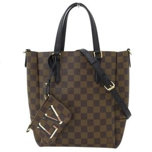 Genuine LOUIS VUITTON Louis Vuitton Damier Belmont NV 2WAY Tote Bag Eve Noir Leather