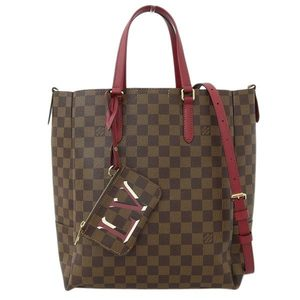 Genuine LOUIS VUITTON Louis Vuitton Damier Belmont 2WAY Tote Bag Cherry Berry N60293 Leather
