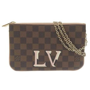 Authentic LOUIS VUITTON Louis Vuitton Damier Double Zip 2WAY Shoulder Bag Ebene Leather