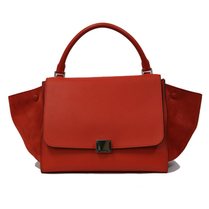 CELINE Celine Handbag Trapeze Orange Ladies Men's Suede Trapezoid 2way