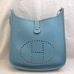 Hermes Bag Evelyn 2 GM Taurillon Clemence Shoulder □ M Engraved Blue Gene HERMES