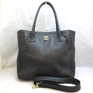 Chanel Bag Executive Tote 2way Shoulder Leather Black Gold Hardware Coco Mark Ladies CHANEL