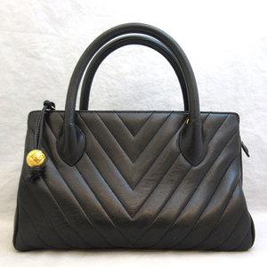 Chanel Mini Boston Bag Black V Stitch Hand Ladies Lambskin CHANEL