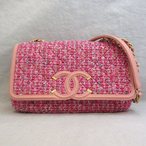 Chanel Shoulder Bag Multicolor CC Filigree Matrasse W Chain Double Pochette Ladies Tweed x Leather CHANEL