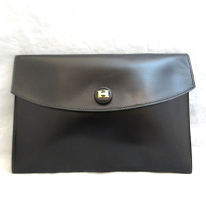 Hermes Bag Pochette Rio Pouch Clutch Box Calf 〇J Engraved Black Ladies