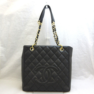 Chanel Bag Shoulder PST Chain Tote Matrasse Coco Mark Caviar Skin Black A50994 Ladies CHANEL