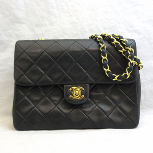 Chanel Bag Miniaturse Chain Shoulder Lambskin Silver Hardware Black Ladies CHANEL