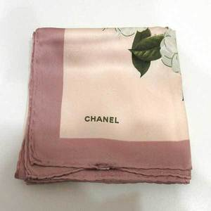 Chanel Large Format Scarf Multi Color Camellia Flower Chain Ribbon Ladies Silk CHANEL