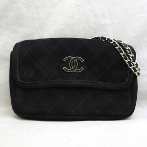 Chanel Bag Miniaturse Chain Shoulder Suede Silver Hardware Black Ladies CHANEL