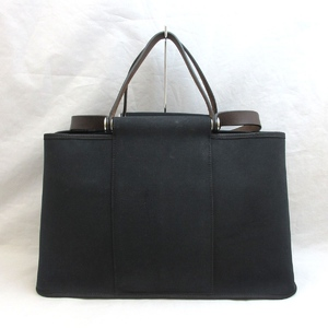 Hermes Bag Tote Shoulder Caback Elan PM Toile Officier Black □ L Engraved Ladies HERMES