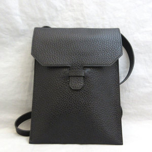 Hermes bag Ameri shoulder pouch leather black □ D engraved HERMES