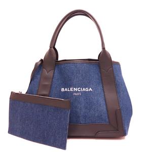 Balenciaga Navy Hippo S Denim Handbag Tote Ladies Canvas x Leather 339933 BALENCIAGA