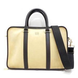 Loewe bag shoulder business briefcase hand 2way suede x leather khaki dark brown men's ladies LOEWE