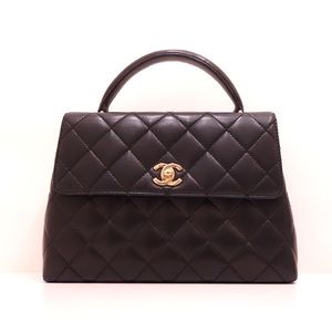 Chanel Bag Handbag Kelly Trapezoid Matrasse Coco Mark Lambskin Black Ladies CHANEL