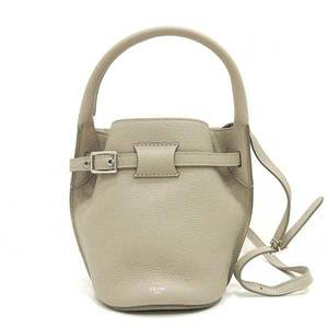 Celine Big Bag Nano Bucket Gray Handbag Shoulder 2way Belt Ladies Calf CELINE