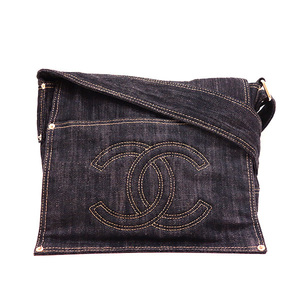 Chanel Shoulder Bag Messenger Indigo Blue Sparkling Denim Cocomark Ladies Canvas A31987 CHANEL
