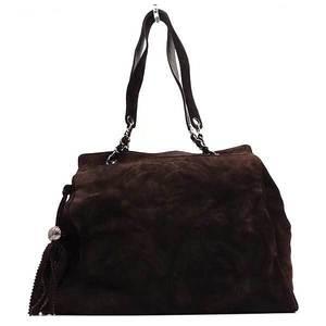 Chanel Bag Shoulder Tote Triple Coco Tassel Suede Brown Ladies CHANEL