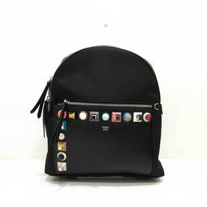 Fendi Bag Rucksack Backpack Studs Leather x Nylon Black 8BZ035 Women's Men's FENDI