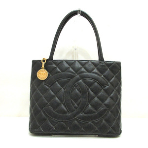 Chanel Reprint Tote Black Handbag Coco Mark Matrasse Ladies Formal Caviar Skin A01804 CHANEL