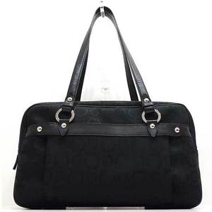 Salvatore Ferragamo Ferragamo Bag Tote Boston Shoulder Gancini Canvas x Leather Black 6917 Ladies SalvatoreFerragamo