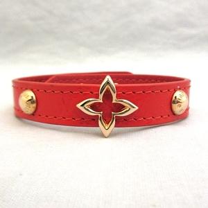 Louis Vuitton Monogram Flower Bracelet M6535 Size 17 Red Gold Hardware Ladies louis vuitton