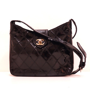 Chanel Shoulder Bag Black Matrasse Coco Mark One Ladies Enamel CHANEL