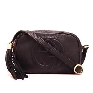 Gucci bag shoulder pochette soho mini disco fringe calf black 347994 ladies gucci