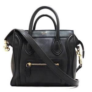 Celine Bag Hand Tote Shoulder Luggage Nano Shopper 2way Leather Black Ladies CELINE