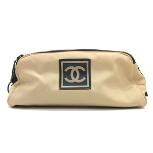 Chanel Second bag Clutch pouch Beige x Black Sports line Cocomark Ladies Men Nylon Rubber CHANEL