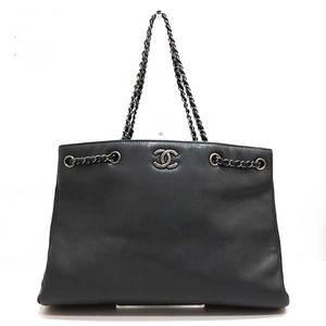 Chanel Bag Tote Chain Matrasse Coco Mark Caviar Skin Dark Ladies CHANEL