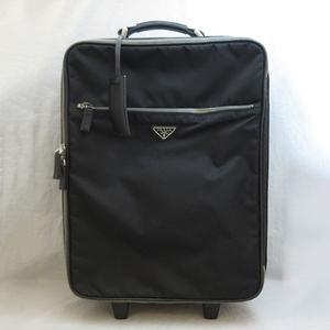 Prada bag carry case triangle logo plate nylon leather black VV0030 PRADA