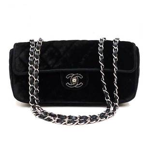 Chanel bag W chain shoulder Matrasse 25 Coco mark velor black ladies CHANEL