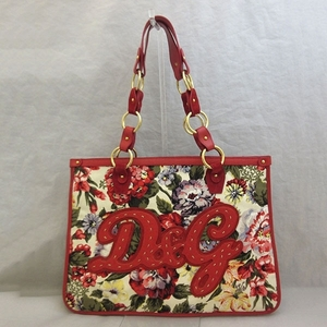 Dolce & Gabbana Tote Bag Multicolor Chain Shoulder Flower Ladies Canvas x Leather DOLCE GABBANA