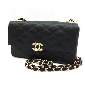 Chanel Bag Chain Shoulder Matrasse Rhinestone Coco Mark Satin Black Ladies CHANEL