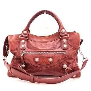 Balenciaga Bag Hand Tote Shoulder Editor's The Giant City 2way Leather Brown 173084 Ladies Men BALENCIAGA