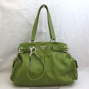 Prada Tote Bag Hand Green Khaki Triangle Logo Ladies Calf Vittero Dino BR2736 PRADA