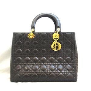 Christian Dior Lady Handbag Tote Black Large Cannage Ladies Lambskin ChristianDior