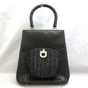 Salvatore Ferragamo Ferragamo Bag Gantini Tote Leather Wicker Handbag Black Ladies Salvatore