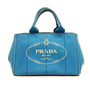 Prada bag tote hand kanapa canvas AZZURRO blue ladies PRADA