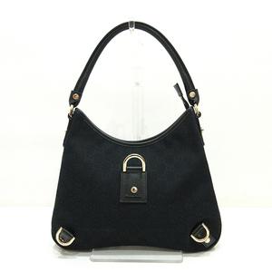 Gucci Abbey Shoulder Bag Black One Semi Hand Ladies GG Canvas x Leather 130738 GUCCI