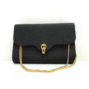 Gucci Bag Shoulder Hand W Chain Old Double G Canvas Black Ladies GUCCI