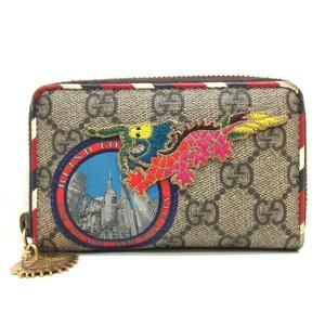 Gucci Courier Card Case Multicolor Business Holder Coin Purse Round Fastener Dragon Applique Ladies Men GG Supreme 473911 GUCCI