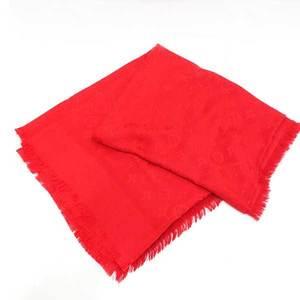 Louis Vuitton Shawl Stole Large Format Monogram Silk 60% x Wool 40% Pomme Dour Red M72237 Ladies LOUISVUITTON